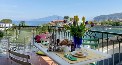 Apt (A+B) - only (A): Furnished terrace with seaview Vesuvius.