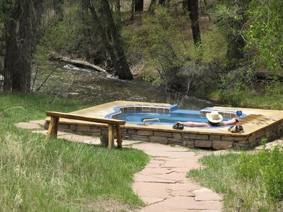 Relaxing in the Natural Hot Springs pool along Chalk Creek. Hot Water, Sunshine