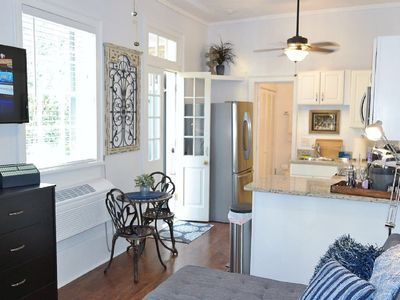 view from living space into the kitchen