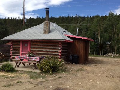 Photo for Adorable Historic Log Cabin with Hot Tub