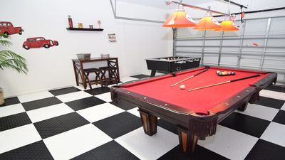 Fantastic retro games room with pool table, table football and flat screen TV