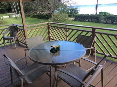 Relax on the deck and enjoy the view of lovely Anini Beach