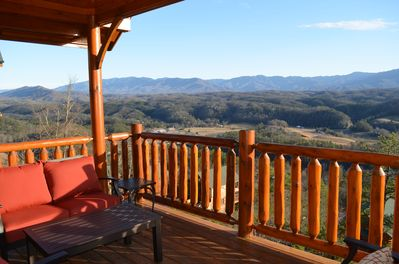 Enjoy spectacular views of the Smoky Mountains National Park from the deck!