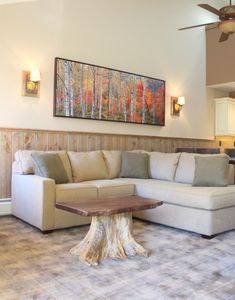 Living Room-With Wood Burning Fireplace and views of Villager Lift and mountain.