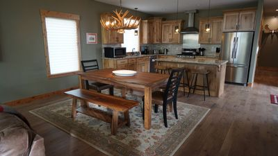 Beautiful dining table that can be left unextended for 8.