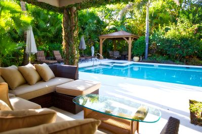 A relaxing poolside cabana