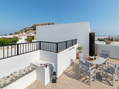 Photo for Lindos Olive Suite - luxury apartment with private roof terrace and seaview