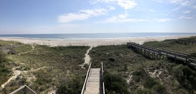 Beautiful view of the quiet beach from one of the main decks