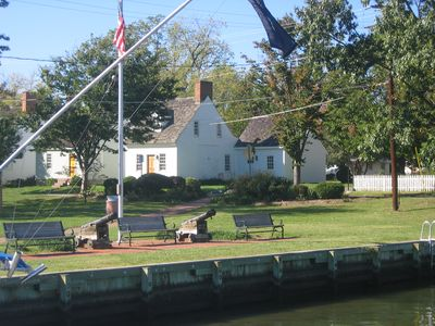 Front of house from St. Michaels harbor looking across Town Park