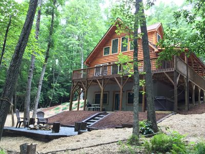 Photo for Private Log cabin, 2 bedroom/2 bath with hot tub on 5 private acres