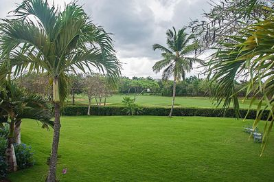 view of 9th hole of La Romana Country Club from patio
