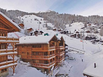View of the chalet - next to the piste & just a short stroll to the village!