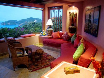 Zihuatanejo condo rental with a delightful open air living room. view of La Ropa