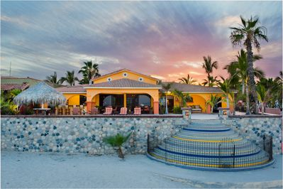 Looking up at the Villa from the beach. Great sunrise from the Sea of Cortez.