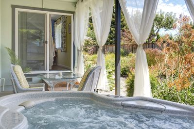 Intimate fresh water hot tub, steps from the master bedroom.