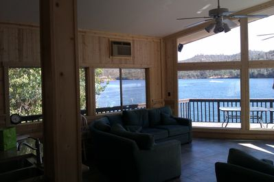 New Tile Living Room With Log Cabin Finish