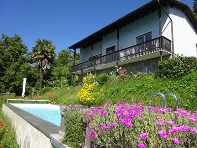 Photo for Experience palm trees, pool and panorama: Casa Belsito, Orselina, on Lake Maggiore