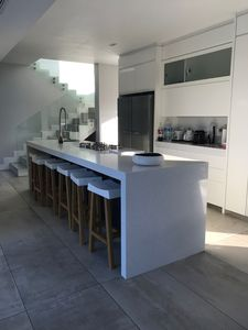 Kitchen island with SMEG gas hop. Breakfast area to seat 6.