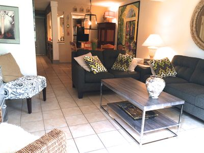 living area, flat screen TV with DVR. Walk out to private patio.
