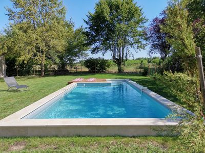 Photo for stone farmhouse with its swimming pool in the heart of the Monbazillac vineyard