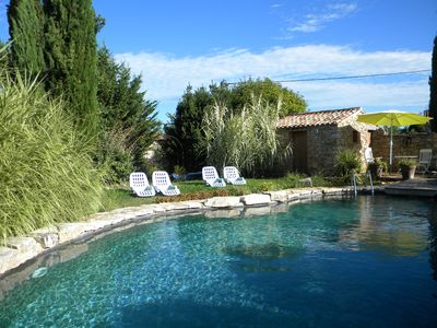 Photo for The cottages of the guinguette, 2 cottages 2 to 4 people with pool near Barjac