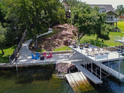 Photo for NEW LISTING! Lakefront home w/ entertainment, dock & lake views - dogs OK!