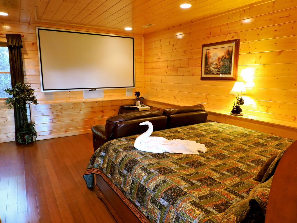 indoor swimming pool cabin with bedroom home theater xbox ps3 wii