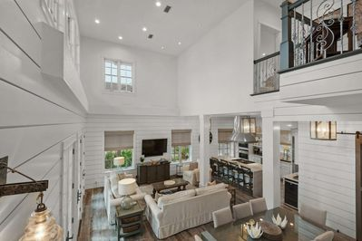 Welcome to All Decked Out!  Enjoy the high ceilings and open living, dining and kitchen area.