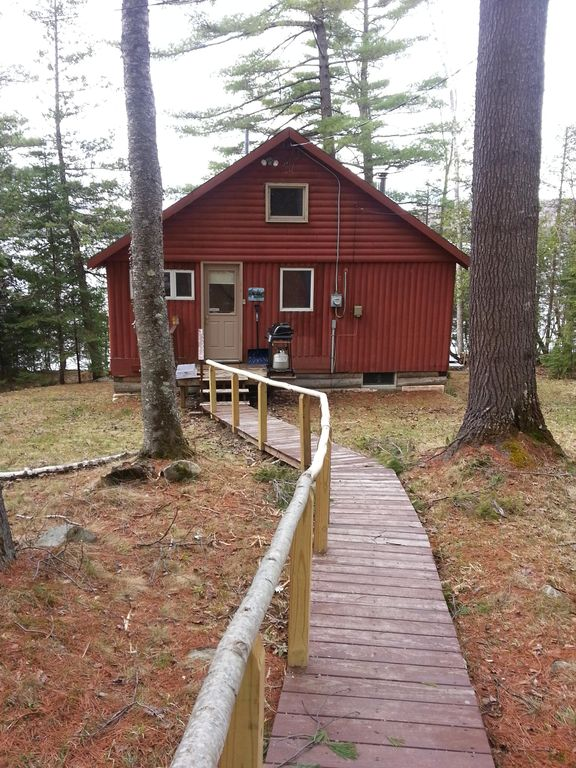 Enjoy our private cabin on embden pond and homeaway for Cabin rentals in maine with hot tub