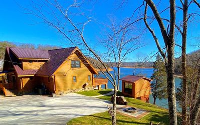 Photo for Breathtaking views from private custom log house with easy walk to private dock