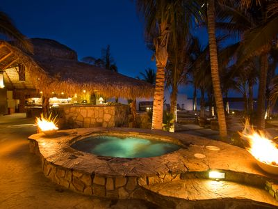 Photo for Beachfront Villa step on to the sand Private Pool, Jacuzzi inc full staff