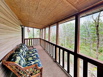 Back Deck - Comfy seating and mountain views await on the wrap-around back deck.