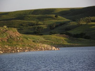 View of ranch hills from the Missouri River.