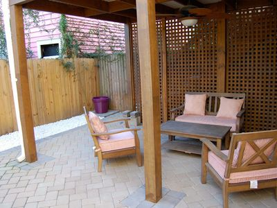 Patio is about 700 square feet! Has Deep Seating and Ceiling Fan