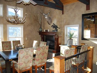 Living area with fireplace, mountain views in Old Town, Park City.