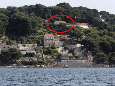Photo for Two bedroom apartment with balcony and sea view Cove Saplunara, Mljet (A-4901-a)