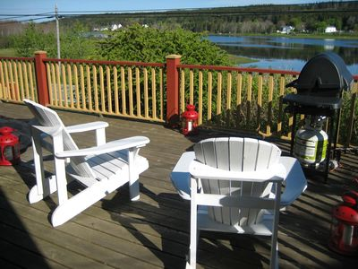 Large deck overlooking the tranquil waters of Ritcey's Cove