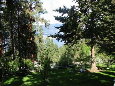 view of lake from patio area
