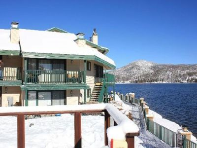 Photo for Lakefront Cabin Feeling Condo in Snowy January ** Relax, Ski, Sled, Shop, Eat!