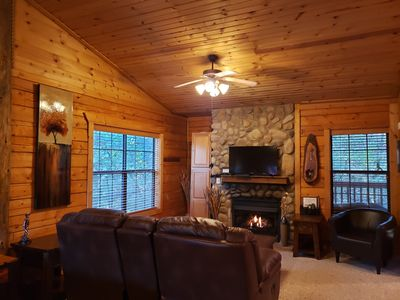 Relax and enjoy the beautiful view, a cozy fire, or some great television!
