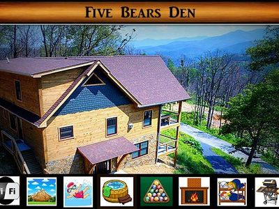 Photo for Five Bears Den - Views from EVERY room / Pool Table / Hot Tub / WiFi