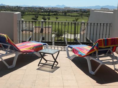 Photo for Frontline Penthouse Apartment. Views Directly Over Golf Course. Pool. WiFi; TV