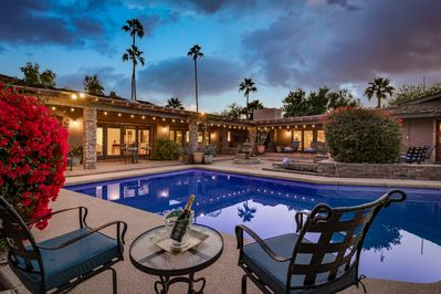 Main Patio and Pool/Spa - Main pool patio features pool & spa, gas BBQ, dining for 12, 4 chaise loungers, conversation seating, fireplace, fountain