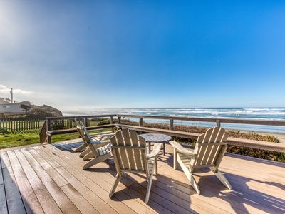 Photo for Oceanfront home w/ large, private deck, amazing views & stairs to the beach!