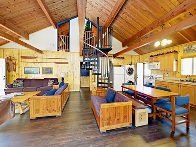 Photo for 2BR Mountain-Inspired Cabin w/ Hot Tub & Pool Table – Near National Forest