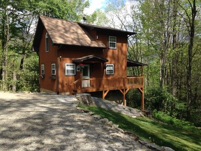 Photo for OVERLOOKING CREEK, VIEW,  WIFI, ~A/C~, King Bed,Jacuzzi in bath, hot tub on deck