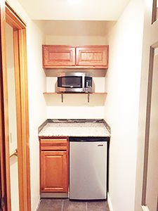 Kitchen alcove: small frig, hot plate and microwave.