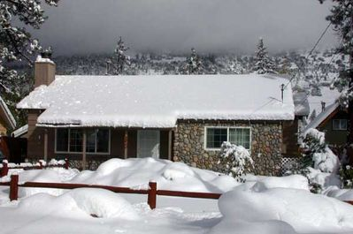 Snowy Cottage with View of Gold Mountain