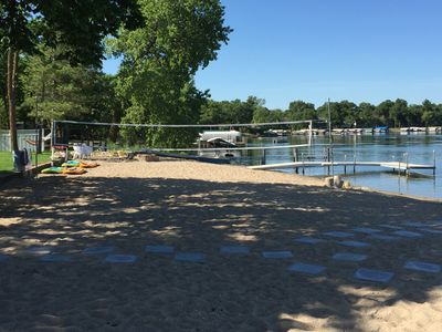 Incredible beach!  155 ft wide sandy beach.  VB net.  Steps to 4 different docks
