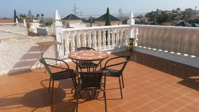 big roof terrace with beautiful view over salt lakes and sea